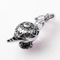 Wholesale Crystal Cube Lamps - Authentic 925 Sterling Silver Bead Charm Vintage Aladdin lamp With Crystal Pendant Bead Fit Women Pandora Bracelet Bangle DIY Jewelry HK3349