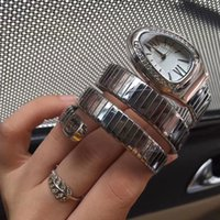 Wholesale Quartz Egg Watch - Dress AAA ladies watches luxury brand Egg dial diamond bezel Full Stainless Steel band fashion quartz watch for women girl female wristwatch