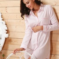 Großhandel- 2017 Marke Striped Cotton Nightgowns Nachtwäsche Weibliche Schlaf Lounge Frauen Indoor Kleidung Sexy Pink Home Dress Nightdress