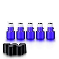 viales de perfume de muestra vacíos 1ml al por mayor-Mini 1ml 2ML rollo de color azul en la botella de vidrio para aceite esencial vacío Perfume recargable muestra vial 1/4 Dram W / bola de metal y tapa negro