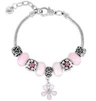 Wholesale Big Hole Crystal Bead - New arrival charm bangle bracelets Europe Big hole beads bracelets crystal Clover alloy bracelet free shipping