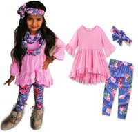 Wholesale Girl 3pcs Set Yellow - Kids Girls Flower Sets Baby Girl Shirts + Pants + Headband 3pcs Suits 2017 Autumn Infant Girl Outfits Children Boutique Clothes B489