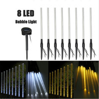 Wholesale Warmer Stick - 8 LED Solar Tube string Light Rechargeable Pure Warm White Acrylic Bubble Stick LED Outdoor Light Garden Landscape Lighting Lawn Lamp