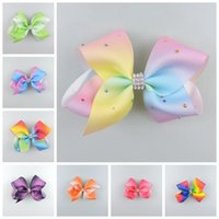 "Wholesale Hair Bows Claw Clips - 20pcs Jeweled Pastel flora ombre ribbon girl 5"" hair bows Alligator clips with crystal Boutique Rainbow Rhinestone hair Accessories HD3473"