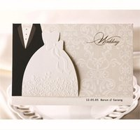 Wholesale Classic Wedding Invitation Cards New - Wholesale-(10 pieces lot) New Classic Bride And Groom Wedding Invitation Cards White And Black Western Style Wedding Invitation Cards