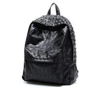 Wholesale Vintage Leather Satchels For Men - Best Selling New Arrival 2017 Men's Skull Backpack School Bag Rivet Vintage Female Bags Ghost Design Backpack For Students