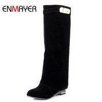 Wholesale Sexy Feet Set - Wholesale-ENMAYER Western Fashion British Style Straight Sets Foot Fashion Sexy High Boots Black Red Brown Drop Shipping Big Size 34-43