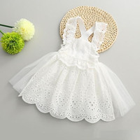 Wholesale Girls Korean Striped Dress - Hug Me Girls Dress for Kids Clothing 2016 Summer Suspender Lace Tutu Dress Korean Fashion Sleeveless Flowers Princess Party Dress MK-794