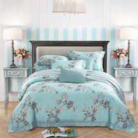 keten kumaş çiçekler toptan satış-60 iplik tencel kumaş çarşaf çarşaf dört adet yatak seti% 100% pamuklu kumaş, çiçek tasarımları mavi renk araba çocukluk memor