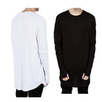 Wholesale Hiphop Wholesale Clothes - Wholesale- Side Zipper Extended Man Mens Hip Hop Hiphop Swag Long Casual T Shirt Top Tees Justin Bieber Style Clothes Clothing