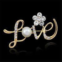 ingrosso spille di nozze d'oro rosa-LOVE Shape Pins Spilla da sposa in oro rosa con strass fiore di cristallo spilla da damigella d'onore spilla gioielli regalo di Natale