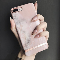 Wholesale Iphone Glossy Case - Pink Marble Cases For iPhone 8 case Glossy Plastic hard Cover for iPhone 8 7 Plus 6 6splus
