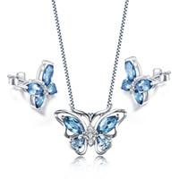 """Wholesale Earring London - New Jewelry Set Cute Genuine London Blue Topaz MQ Pear Butterfly Shape Pendant Necklace Chain 18"""" for Women Girls"""