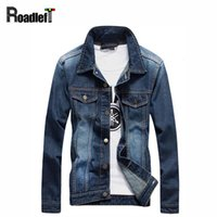 Wholesale Vintage British Clothing - Wholesale- Male British vintage style denim jackets outerwear Mens casual clothing cotton jeans jacket coat men biker bomber jacket tops