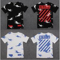 Wholesale Couple Skateboard - off white t shirt men women tshirt hip hop shark t-shirt harajuku streetwear crewneck skateboard t-shirts palace couple tees