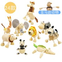 Wholesale Australia Animal - ANAMALZ Moveable Maple Wooden Animals Australia Wood Handmade Farm 24 Animals Toy Baby Educational Wooden Toys