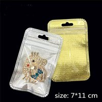 Wholesale Locked Ring Box - Golden Silver Plastic Poly Bags OPP Packing Zipper Lock Package Non Woven Retail Boxes Hand Hole For Phone Ring Bracket