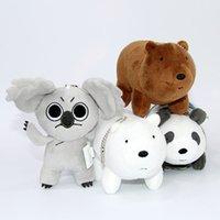 """Wholesale Christmas Stuffed Panda Bear - New We Bare Bears Grizzly Panda Ice Bear Keychain Plush Doll Stuffed Pendant Animals Toy ( 12pcs Lot  size :4"""" 10cm)"""