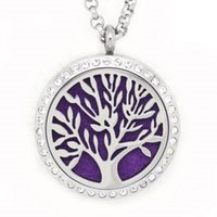 Wholesale Crystal Lucky Tree - 5PCS Crystal 7Style Lucky Tree Aromatherapy Locket Necklace Pendant 316L Stainless Steel Essential Oil Diffuser Pendant With Pads Chain