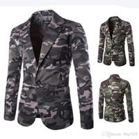 erkekler için yeni stiller toptan satış-Yeni Erkek Blazer Slim Fit Takım Elbise Ceket Moda Erkekler Kamuflaj Blazer Tarzı Rahat Tek Düğme Erkekler için Askeri Blazer