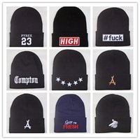 Wholesale free nyc - New Arrival Compton Pyrex 23 tha Alumni last kings 40 OZ NYC beanie hats hip hop wool winter hat cotton knitted warm caps for men women