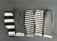 Wholesale Spring Autumn Children Harem - Spring Autumn Kids Pants Boys Girls Cotton Casual Pants 5 colors Loose Trousers Children Grey Striped Clothes Bottoms Clothing 1-6 Years Old
