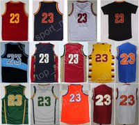 Wholesale Browns Throwback Jerseys - Hottest 23 LeBron James Basketball Jerseys Men St. Vincent Mary High School Irish,Movie TUNESQUAD Throwback Blue White Green Brown Red Black