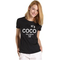 Wholesale Coco Letter - 2017 New Fashion Top Fashion Women's COCO MADE ME DO IT Letters Printed t-shirts Coco t shirts Cotton Hot Sale