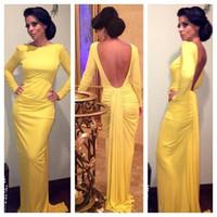 gelb prom kleider zum verkauf großhandel-Heißer verkauf sexy langarm meerjungfrau abendkleider gelb backless chiffon falten formale abendkleider prom kleider robe de soiree