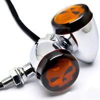 Wholesale Skull Turn Signal Indicators - Motorcycle Chrome Skull Lens Turn Signals Indicator Light F Custom Amber Light