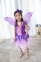 Wholesale Purple Fairy Wings - Girl purple fairy princess costumes cosplay kids performance clothes cartoon dress party clothing Dress+Headband+wing 3pcs set A15020303