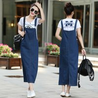 Wholesale Ladies Long Denim Dress - Wholesale- New fashion women ladies Long denim strap solid jean dress loose fitting sleeveless long overalls dungarees