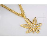 Wholesale Dj Plates - Vintage hemp leaf pendant golden Necklace fashion brand hip hop pendants and necklaces club DJ Chain Rhinestone Jewelry Punk