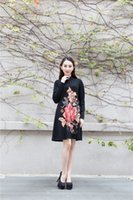 Wholesale One Piece Cheongsam - new 2017 embroidery women's dress Casual sweater chinese cheongsam one-piece dress vintage