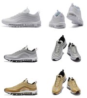 Wholesale Drop Shipping Bullet - Maxes 97 White Snakeskin Metallic Gold Silver Bullet man top quality running shoes with originals box size eur 40-45 free drop ship