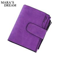 Wholesale Snap Clutches - Wholesale- Mara's Dream Lady Short Clutch Wallet Letter Snap Fastener Zipper Solid Vintage Matte Women Wallet Female Purse Short Purse