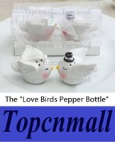Wholesale Bird Wedding Cakes - Wedding Favours Gifts and Cake Topper Happily Ever After Bride and Groom Love Birds Salt and Pepper Shaker 200pcs(100sets) wholesale NDY-555