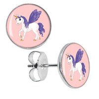 Wholesale Earrings Plug Fashion - Wholesale 50 pieces lot Surgical Steel Purple Winged Unicorn Ear Stud Earrings Fake Plugs Cheater Fashion Jewelry Size 10mm*0.7mm ZCST-087