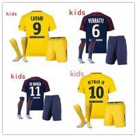 Wholesale Boys Sets Yellow - kids NEYMAR JR 10 CAVANI DI MARIA VERRATTI Shirt Home blue Away 17 18 Soccer Jerseys Custom Football Uniforms Thai Quality Set + socks