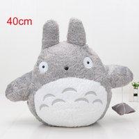 sevimli totoro peluş oyuncak toptan satış-40 cm Janpanese Anime Komşum Totoro Dolması Peluş Oyuncaklar Bebek PP Pamuk ile Dolu Sevimli Tasarım