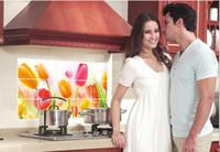 tulipán mural al por mayor-Tulip Kitchen Anti-Oil Pegatinas de pared Cocina decorativa Cocina a prueba de aceite Pegatinas de flores Decoración del hogar Calcomanías de arte Mural