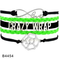 (10 pezzi / lotto) Infinity Love Crazy Wrap IT Works Flower Charm Multistrato Wrap Bracelet Nero Lime Green Leather Women's Fashion Jewelry Gift