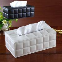 Wholesale Leather Napkin Holder - Wholesale- Facial Tissue Box Cover PU Leather Home Office Hotel Car Rectangle Container Towel Napkin Tissue serviette en papier Case Holder