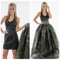 Wholesale Purple Satin Overlay - Halter Sheath Black Prom Dress With Detachable Camo Skirt Black Tulle Overlay Formal Party Gowns Ladies Camouflage Satin Vestidos De Soiree