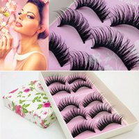 Wholesale Lady Lash - 5Pair Women Lady Thick Fake Cross False Eyelashes Dense Natural Long Fake Eyelashes False Eye Lashes Extension Makeup Tools Volume Lashes
