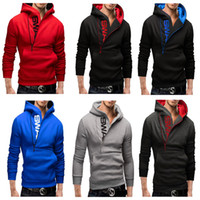 Wholesale Red Bumps - Men's Clothing Letters of bump color man fleece side zipper Hoodies & Sweatshirts Jacket Sweater Assassins creed Size M-6XL