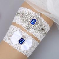 Wholesale Cheap Wedding Garter Belts - Wedding Bridal Garters with Royal Blue Rhinestones Free Shipping Bridal Wedding Garter Set Belt Cheap Prom Leg Garter 2017 In Stoc