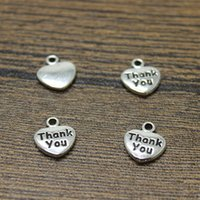 Wholesale Silver Thank Charms - 70pcs-- Heart Charms 14 x10mm antique silver tone Thank you charm pendant for jewelry making