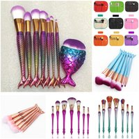 Wholesale Wholesale Fishing Kits - 6 7 8pcs set Mermaid Makeup Brushes Big Fish Tail Foundation Powder Eyeshadow Make-up Brushes Contour Blending Cosmetic Brush Kit DHL Free