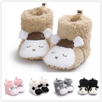Wholesale Indoor Shoes For Toddlers - Baby cute coral fleece warm indoor shoes infants cartoon animal sheep panda plush first walk shoes toddlers autumn winter warm boots for 0-1